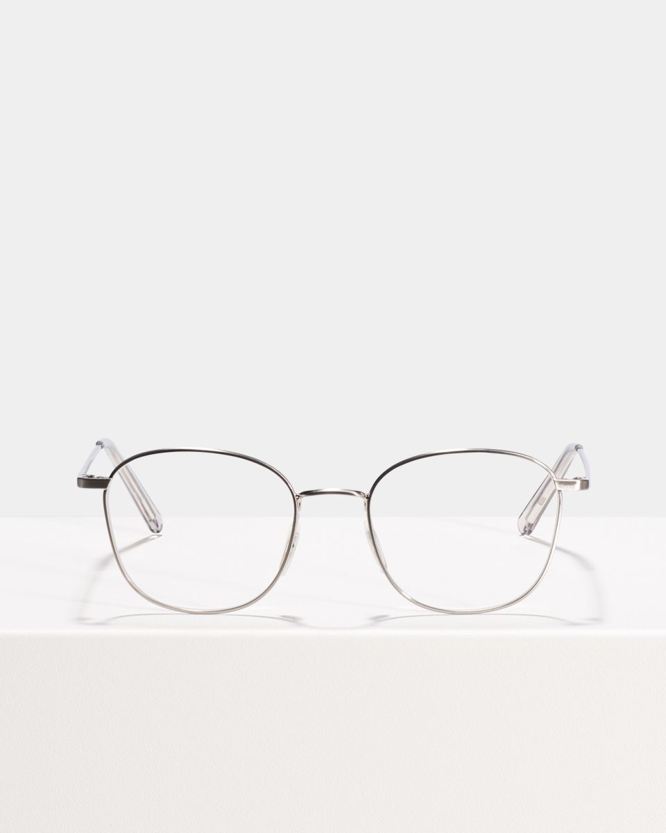 Jay square metal glasses in Satin Silver by Ace & Tate