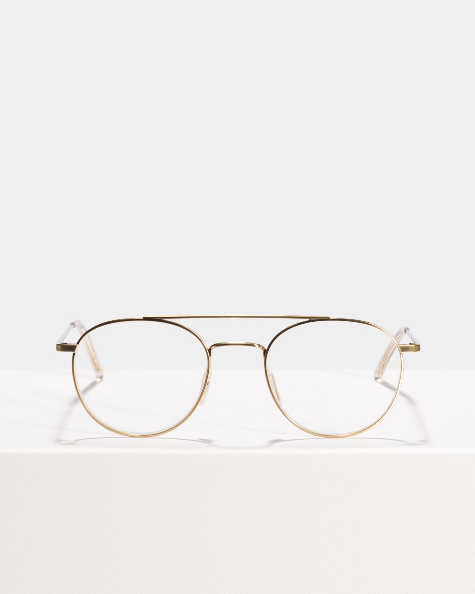 Keith round metal glasses in Satin Gold by Ace & Tate
