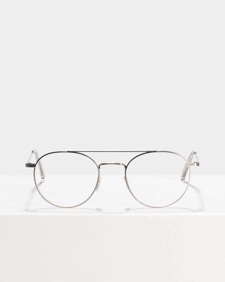 Keith round metal glasses in Satin Silver by Ace & Tate