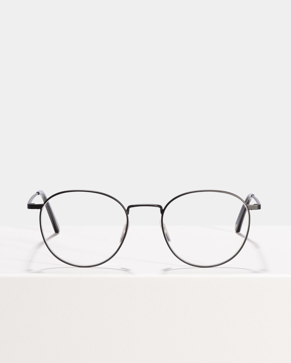 Neil Large ronde métal glasses in Matte Black by Ace & Tate