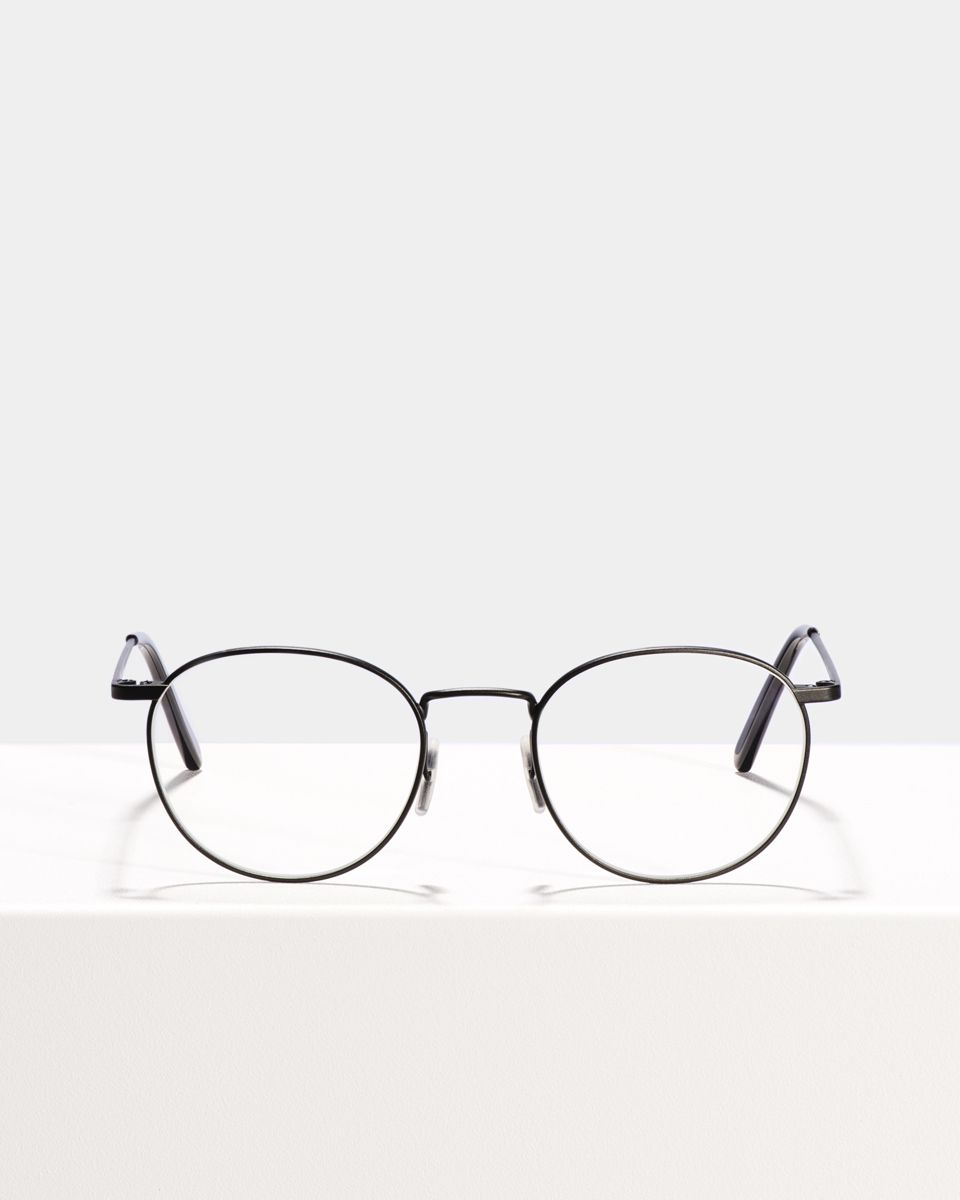 Neil rund Metall glasses in Matte Black by Ace & Tate