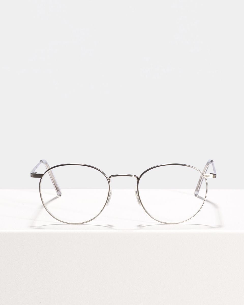 Neil round metal glasses in Satin Silver by Ace & Tate