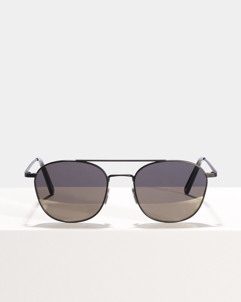 Olaf square metal glasses in Matte Black by Ace & Tate