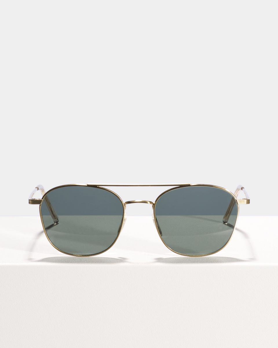 Olaf viereckig Metall glasses in Satin gold by Ace & Tate