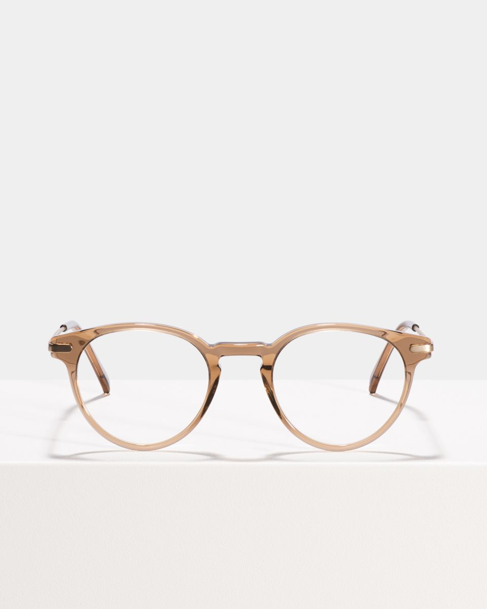 Pierce Metal Temple Acetat glasses in Golden Brown by Ace & Tate