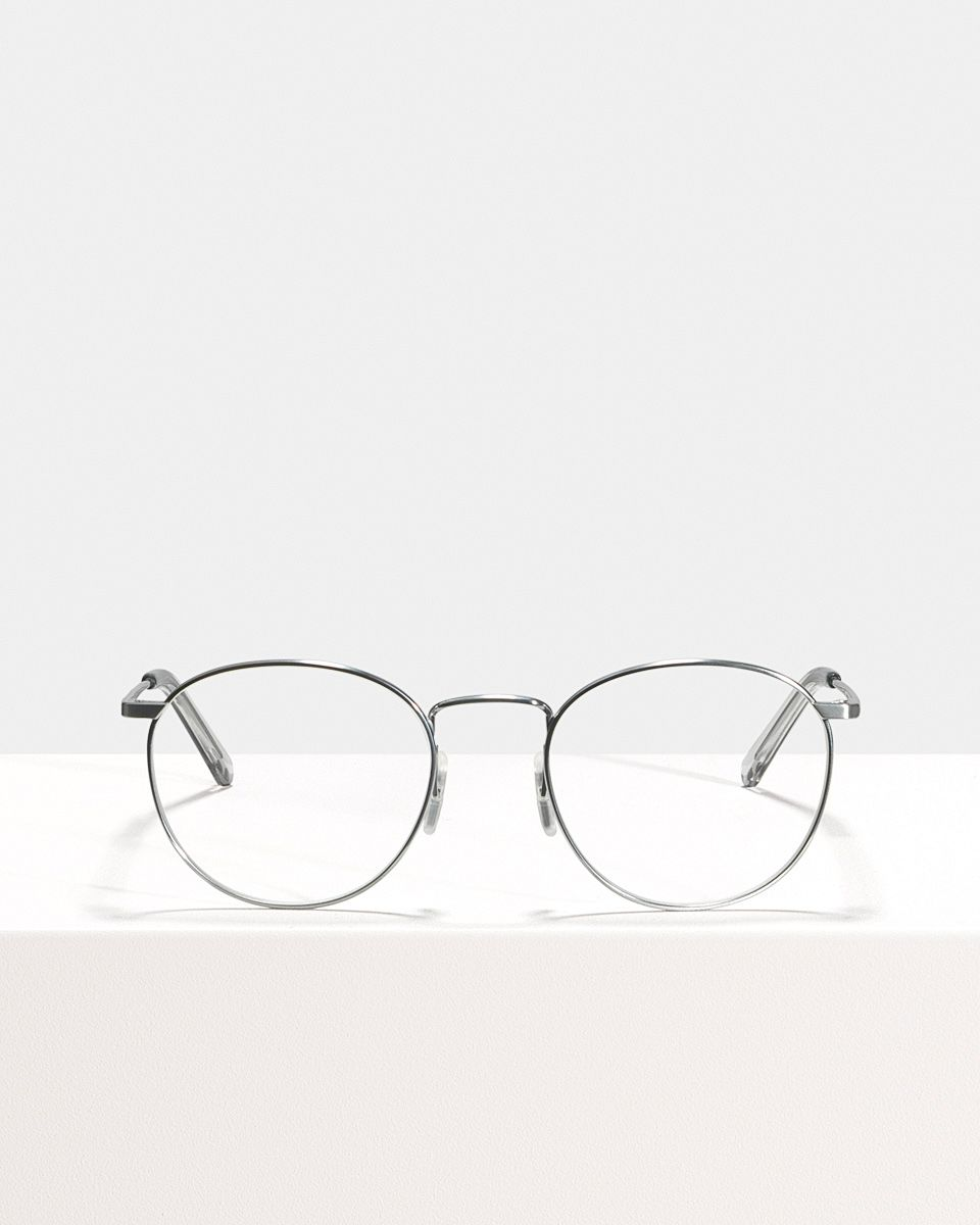 Neil Titanium rondes titane glasses in Satin Silver by Ace & Tate