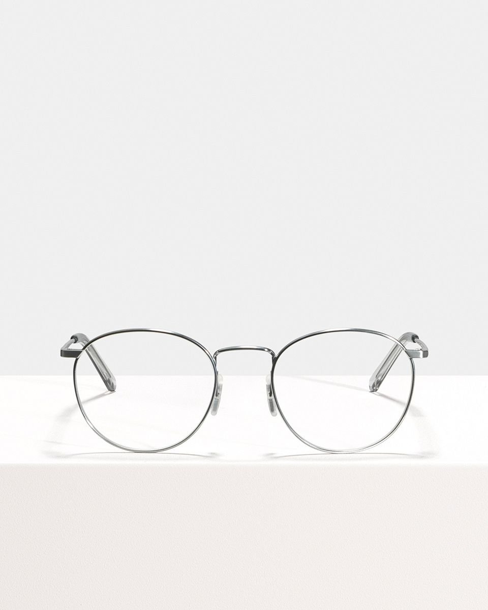 Neil Titanium rund Titan glasses in Satin Silver by Ace & Tate