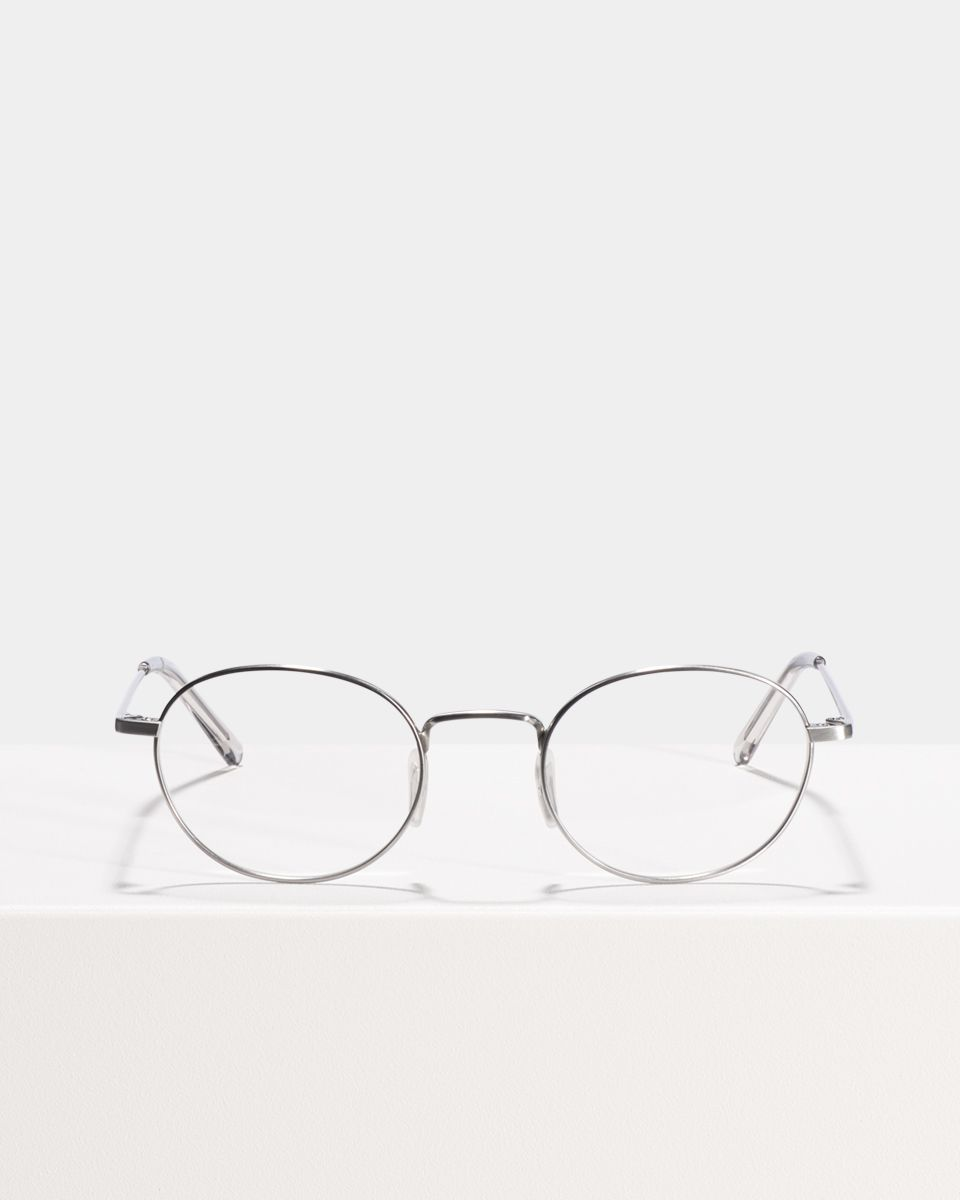 Patti Titanium oval titanium glasses in Satin Silver by Ace & Tate