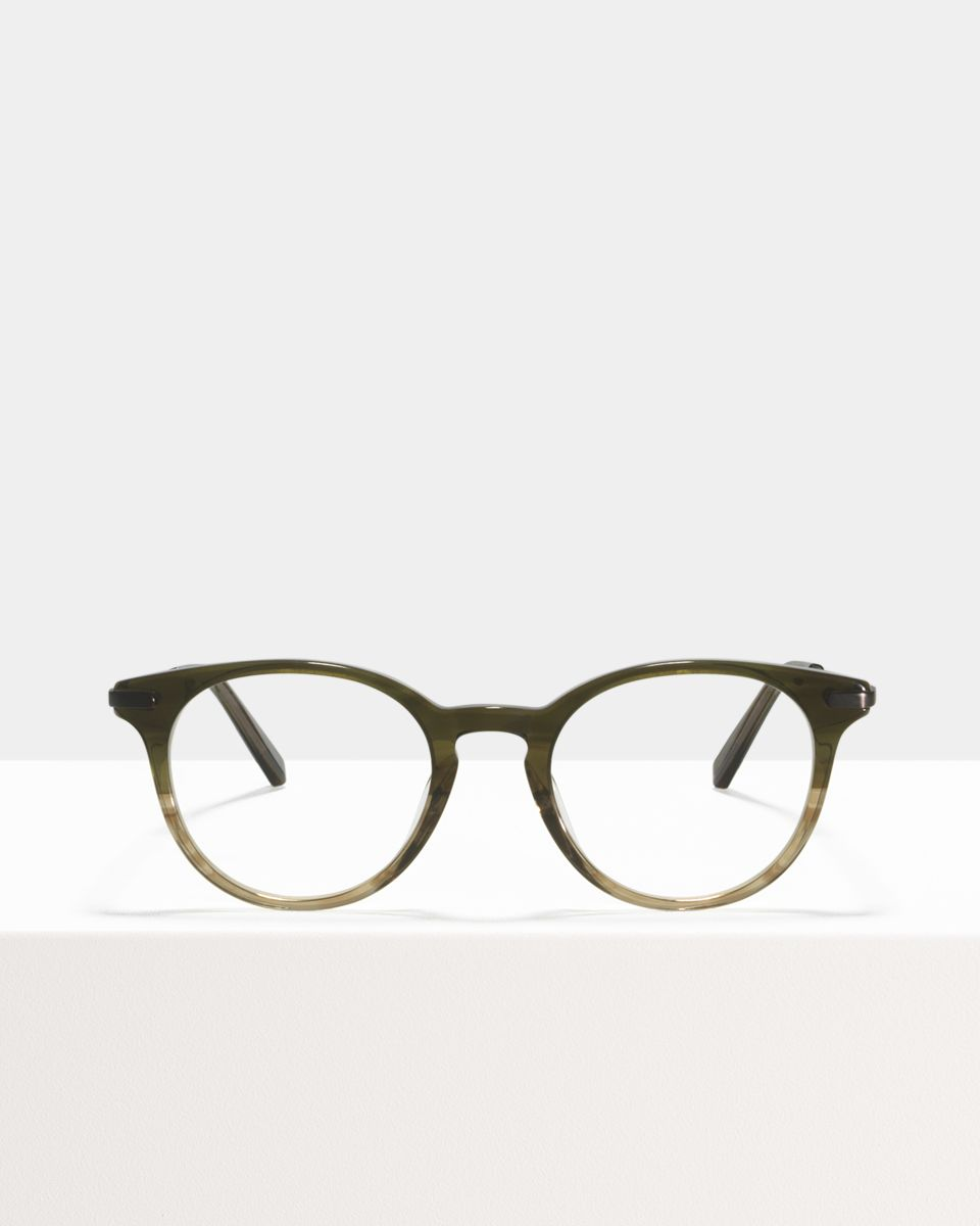 Max Metal Temple rund Verbund glasses in Olive Gradient by Ace & Tate
