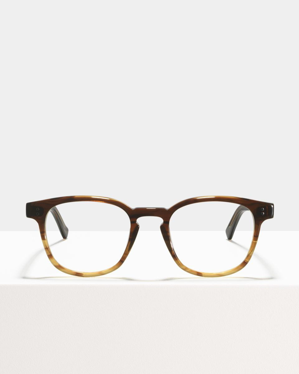 Alfred vierkant acetaat glasses in Chocolate Havana Fade by Ace & Tate