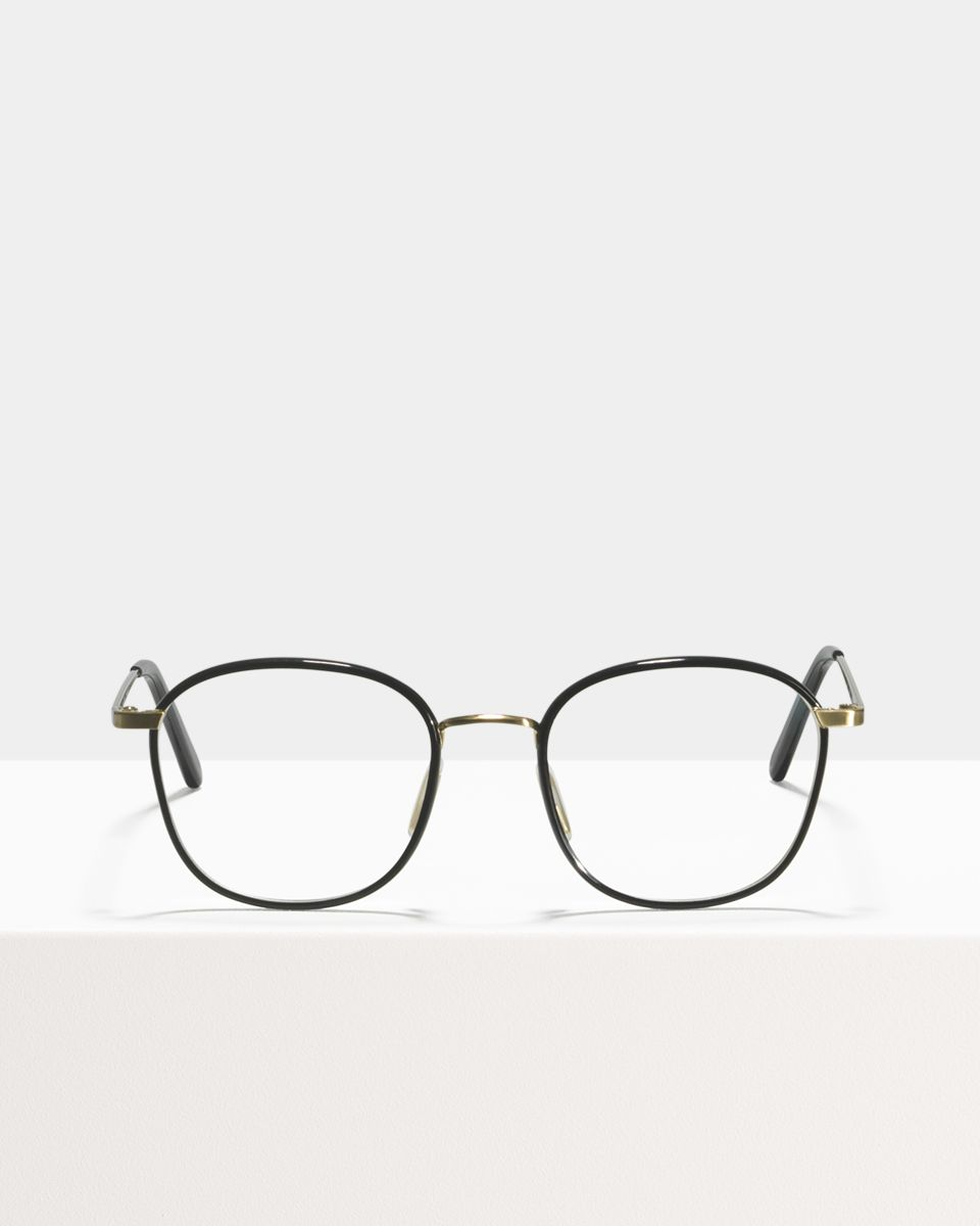 Jay square bio acetate glasses in Satin Gold Bio Black by Ace & Tate