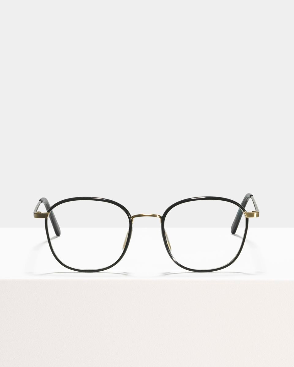 Jay quadratisch Verbund glasses in Satin Gold Bio Black by Ace & Tate