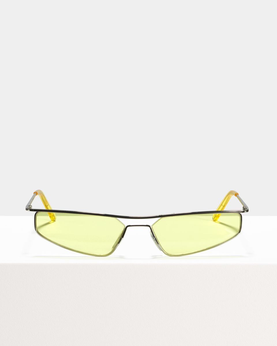 CMMN Neo rectangle metal glasses in Silver Electric Yellow by Ace & Tate