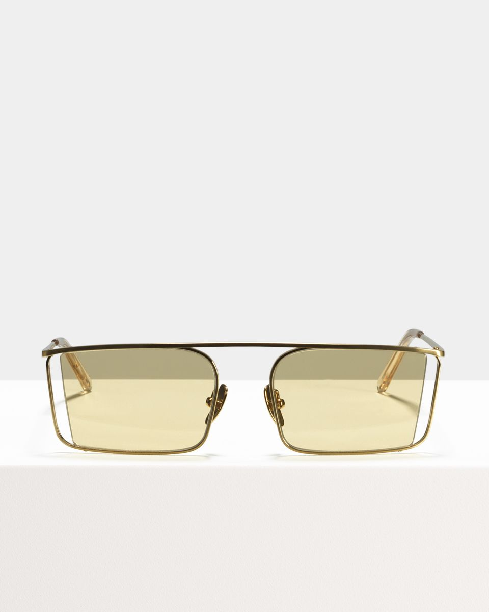 Cliff rechthoek metaal glasses in Satin Gold by Ace & Tate