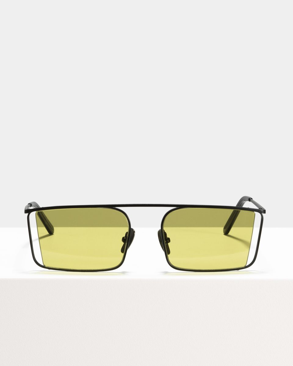 Cliff rectangulaires métal glasses in Matte Black by Ace & Tate