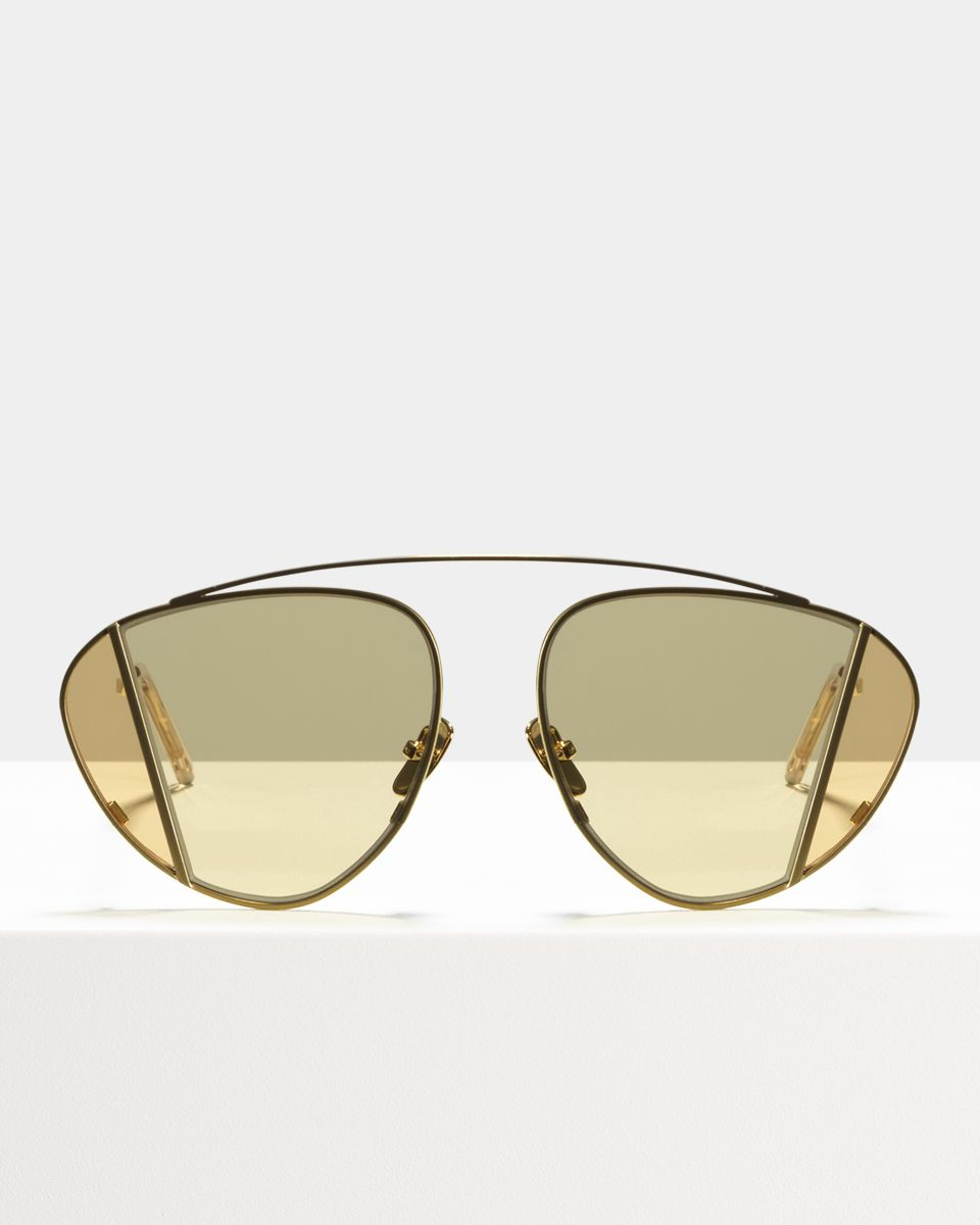 Lenny round metal glasses in Satin Gold by Ace & Tate