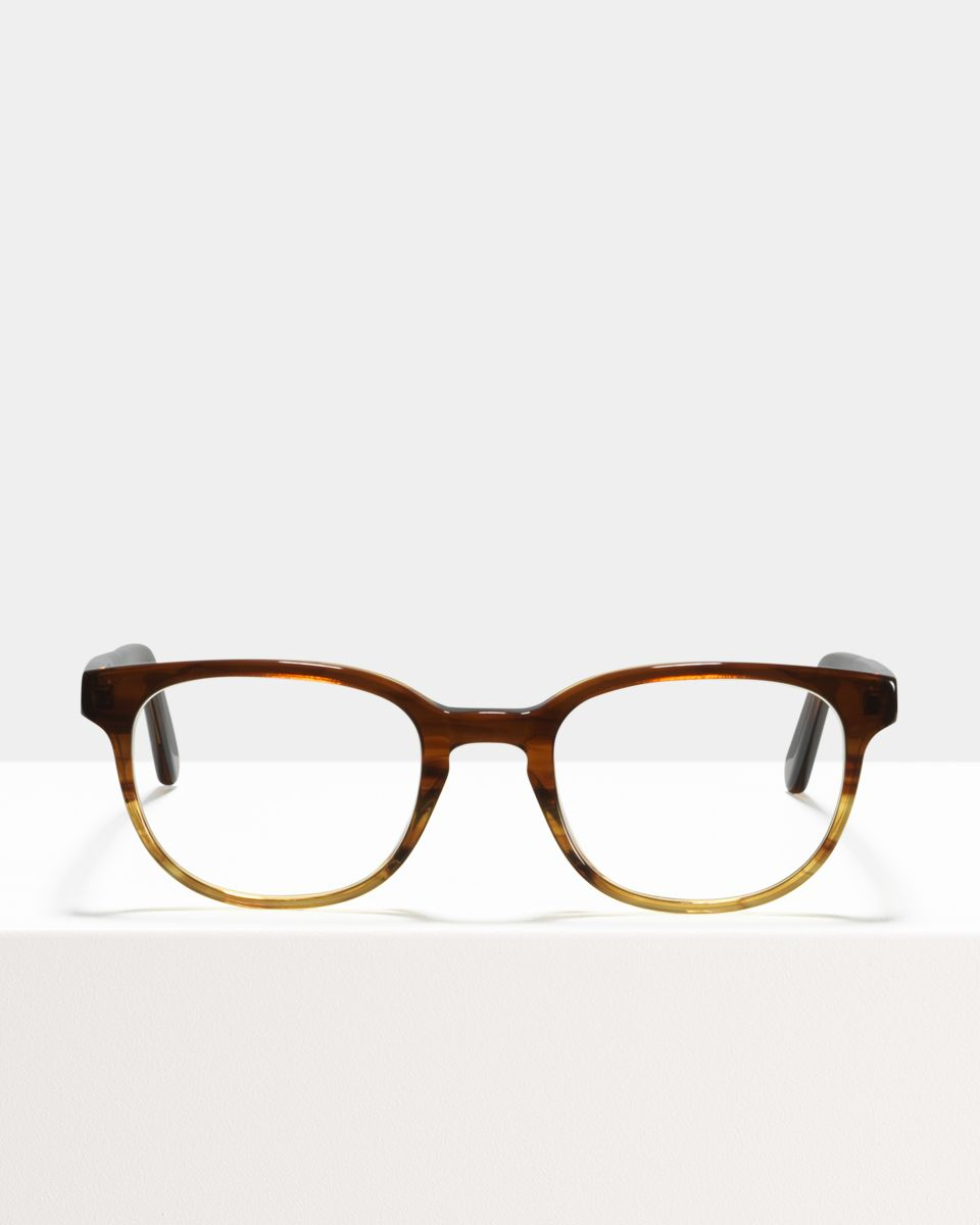 Finn rechteckig Acetat glasses in Chocolate Havana Fade by Ace & Tate