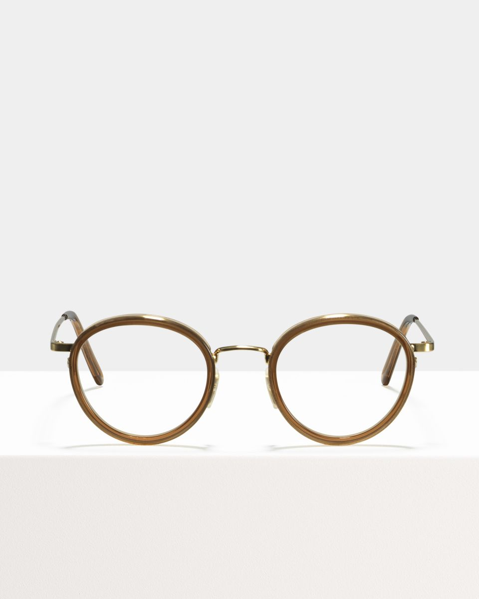 Tyler round metal,combi glasses in Golden Brown by Ace & Tate