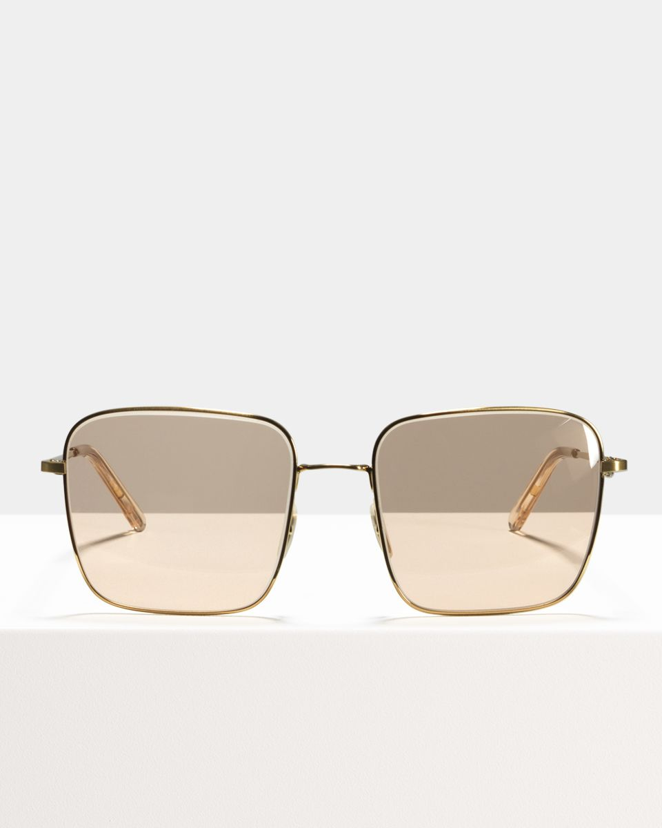 Sofia square metal glasses in Satin Gold Pink by Ace & Tate
