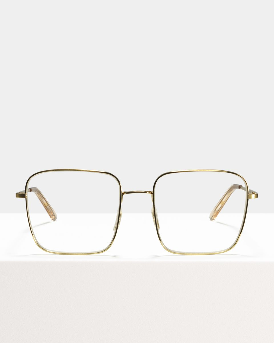 Sofia square metal glasses in Satin Gold by Ace & Tate