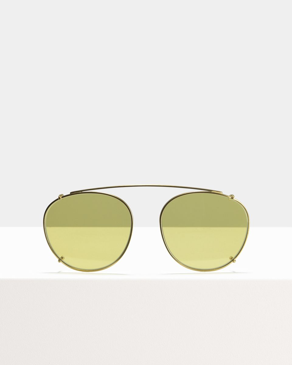 Neil clip-on   glasses in Satin Gold Yellow by Ace & Tate