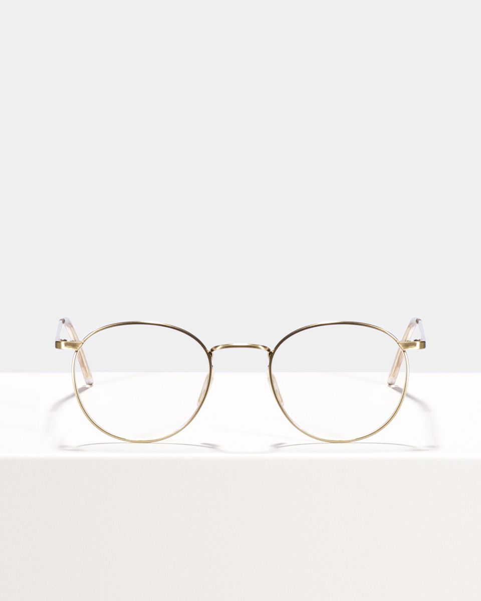 Neil rund Metall glasses in Satin Gold by Ace & Tate