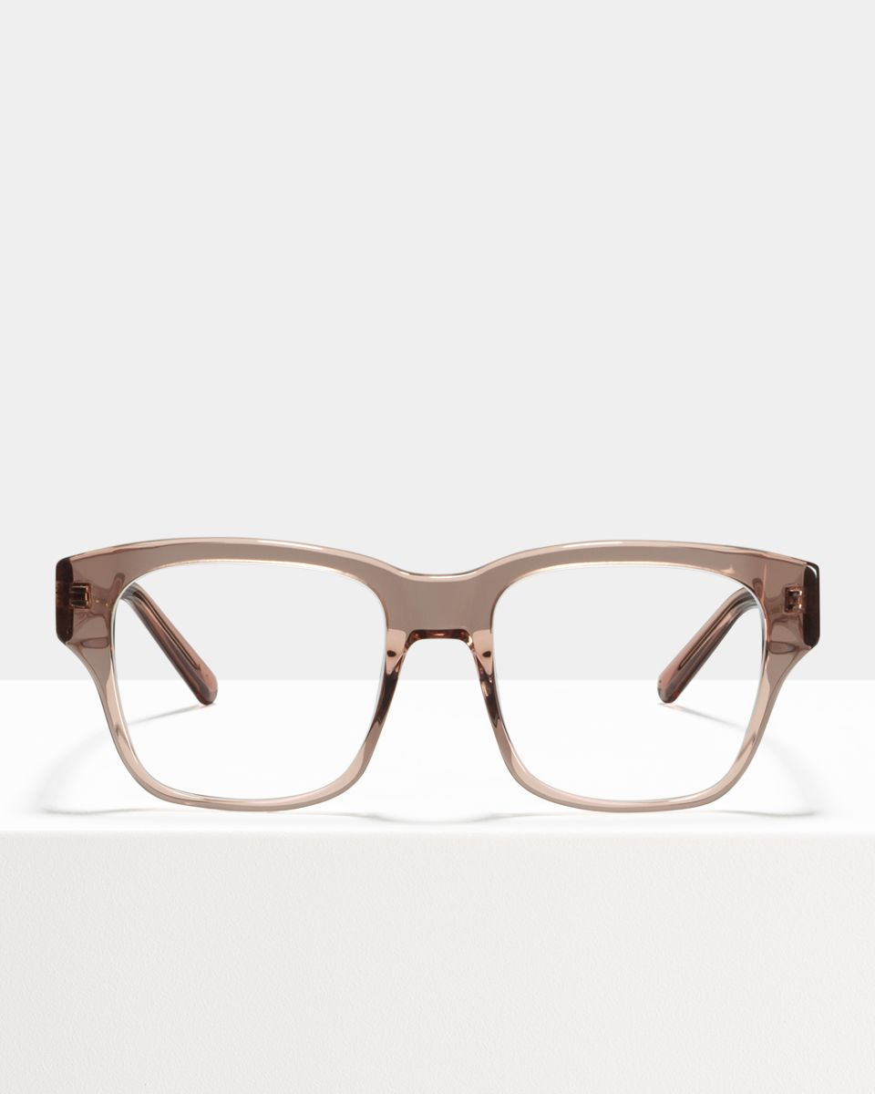 Matt square acetate glasses in Blush by Ace & Tate