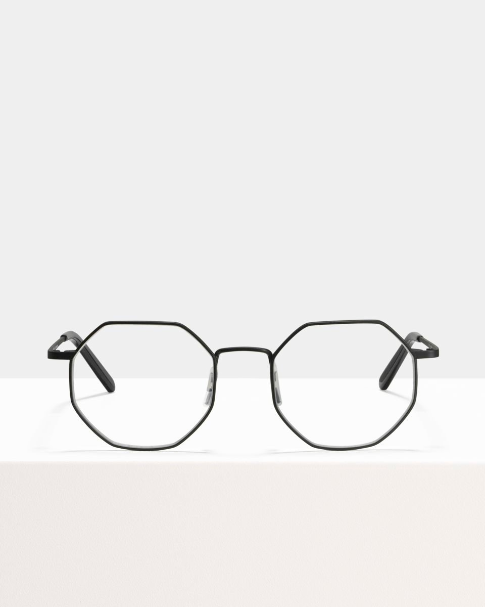 Elton carrée métal glasses in Matte Black by Ace & Tate