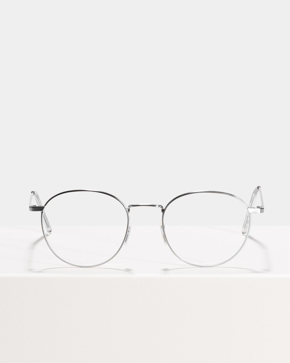 Neil Large rund Metall glasses in Satin Silver by Ace & Tate