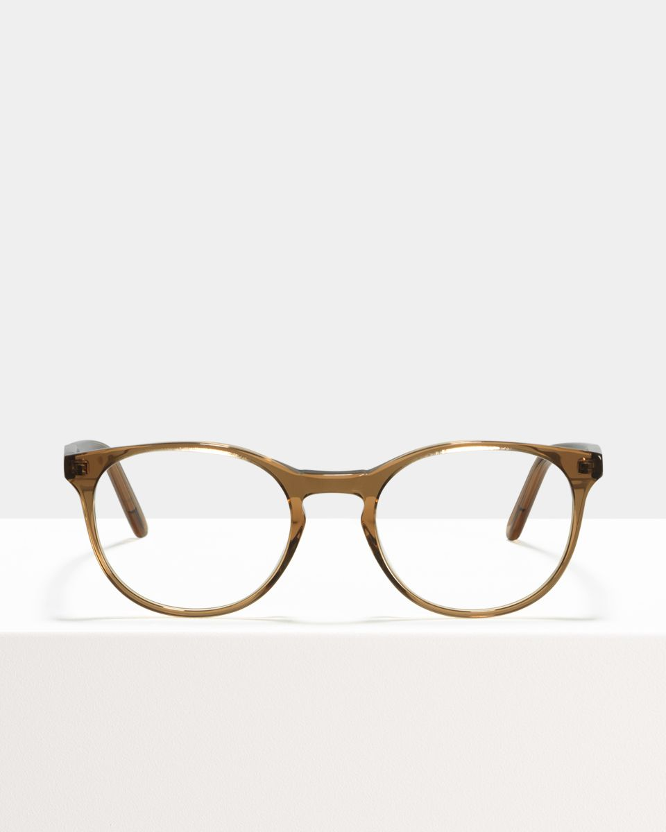 Miles round acetate glasses in Golden Brown by Ace & Tate