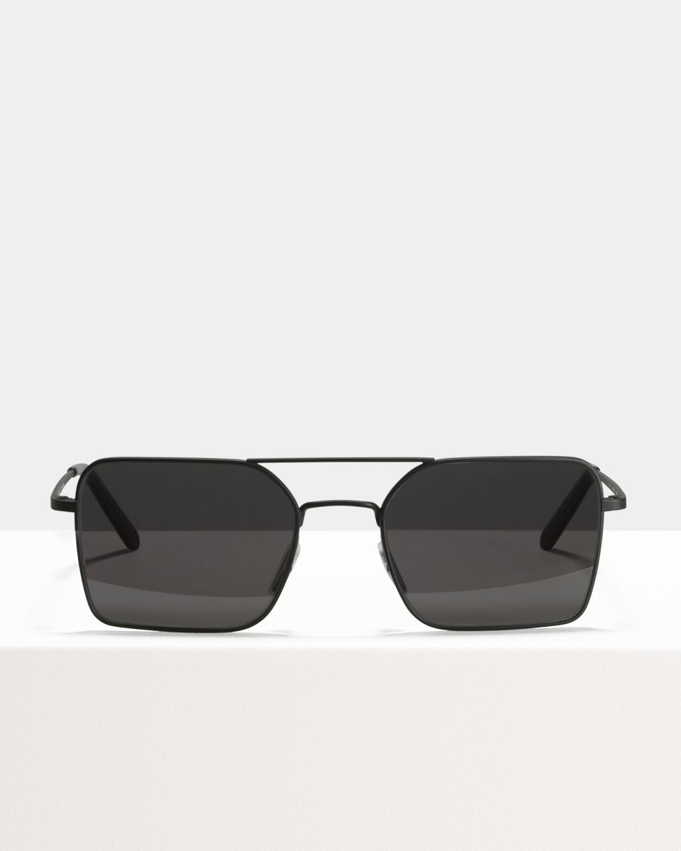 Zack rectangulaire métal glasses in Matte Black by Ace & Tate