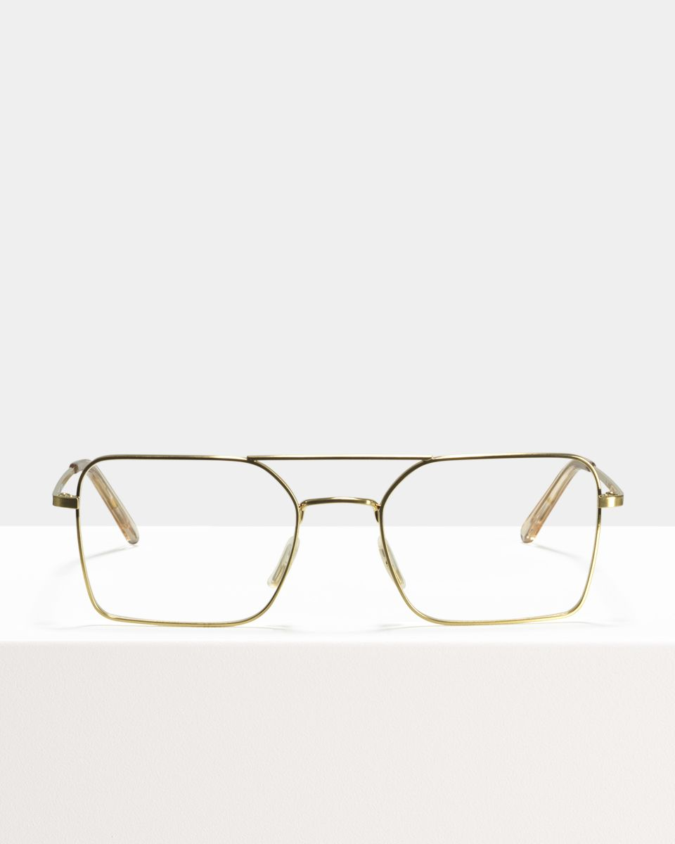 Zack rechthoek metaal glasses in Satin Gold by Ace & Tate