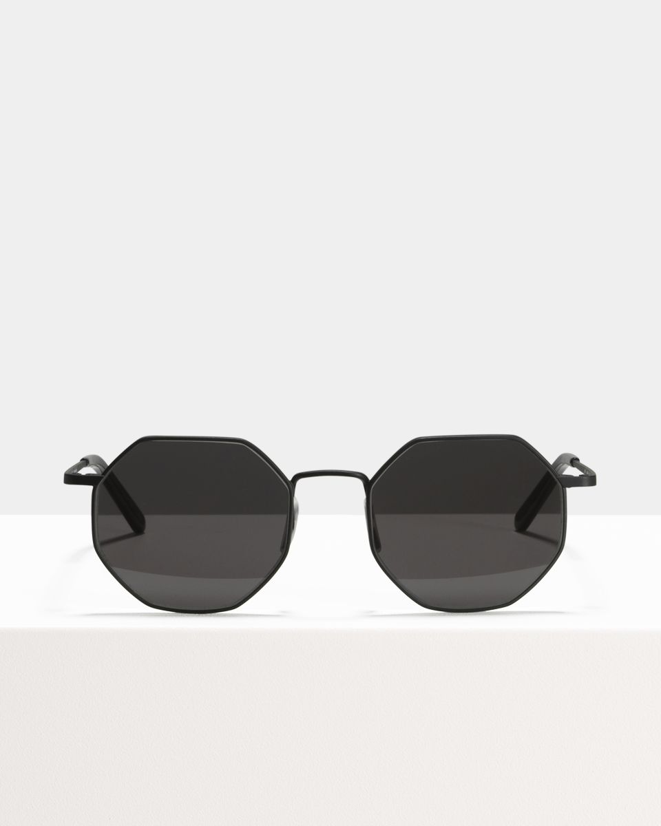 Elton square metal glasses in Matte Black by Ace & Tate
