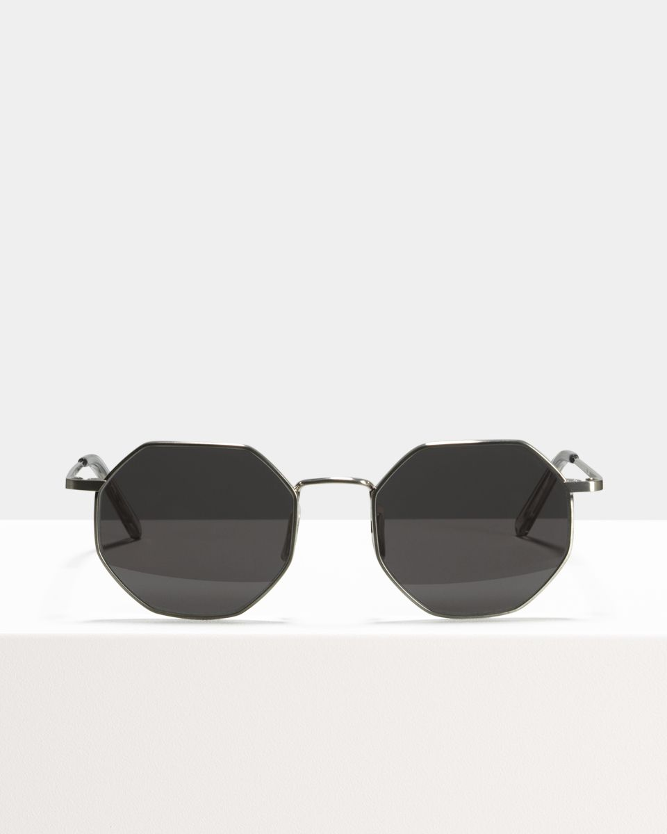 Elton square metal glasses in Satin Silver by Ace & Tate