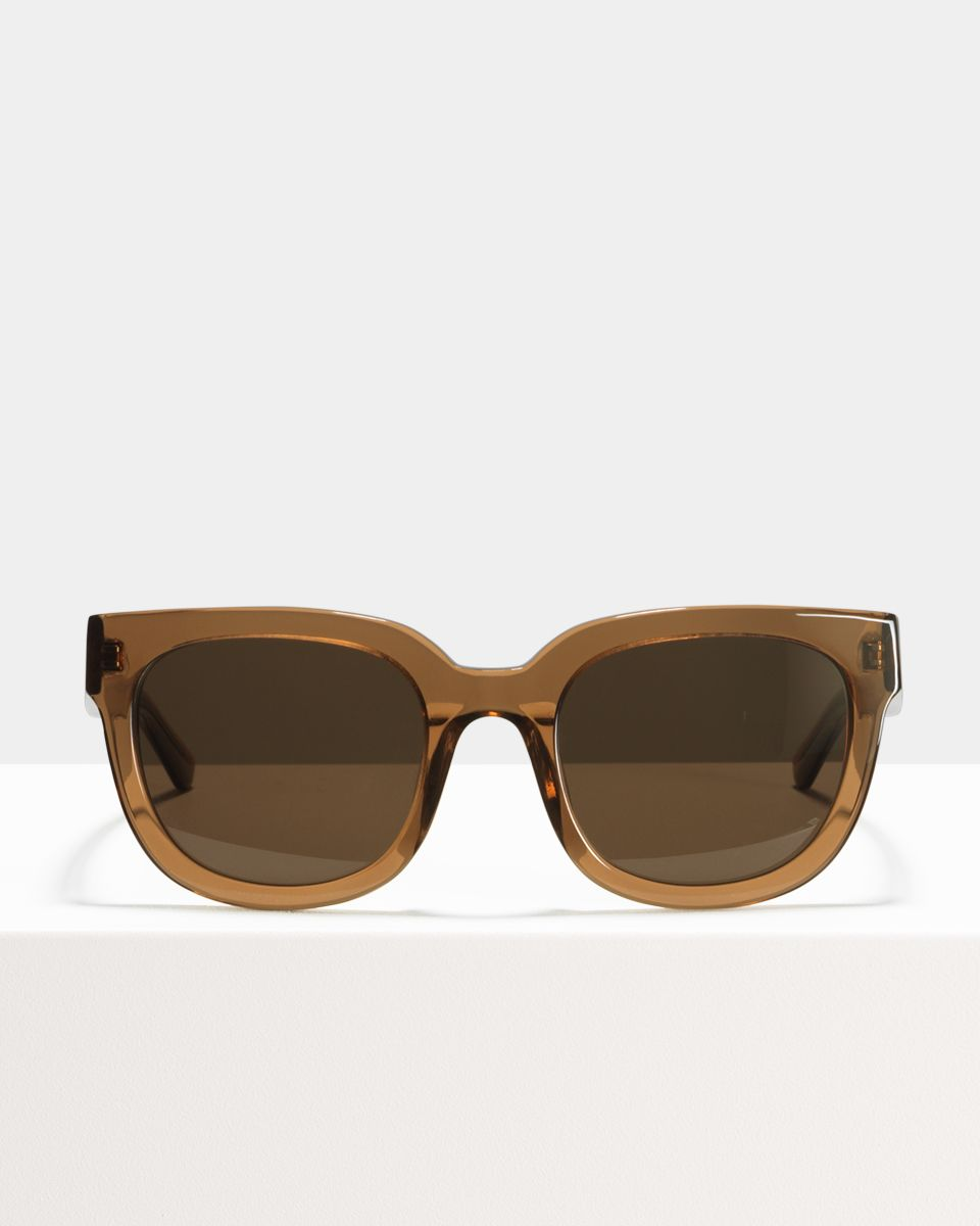 Kat square acetate glasses in Golden Brown by Ace & Tate
