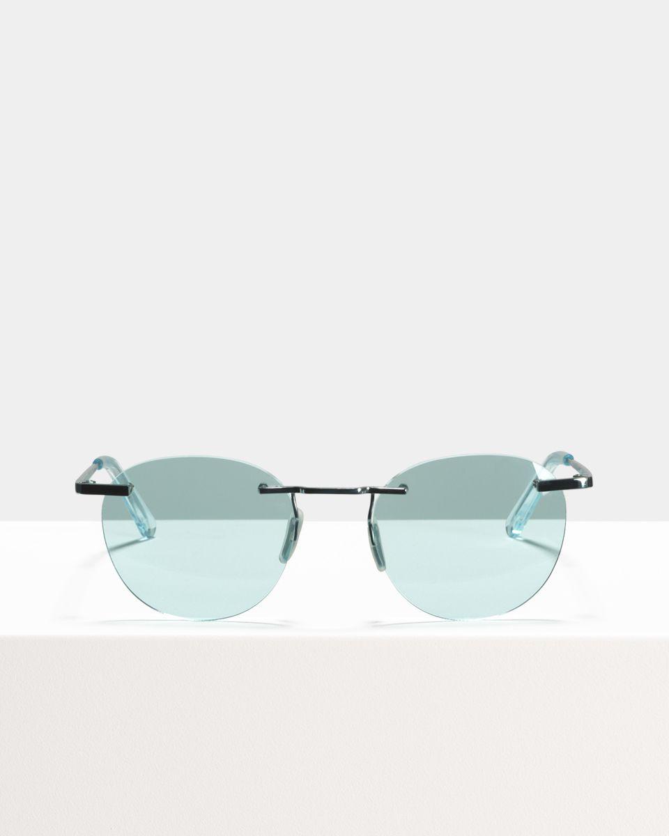 Ace & Tate Sunglasses | rond titanium in Blauw