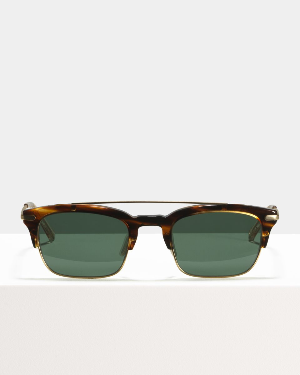 Nate rectangle combi glasses in Tiger Wood by Ace & Tate