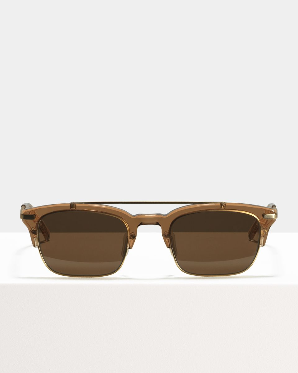 Nate rectangle combi glasses in Golden Brown by Ace & Tate