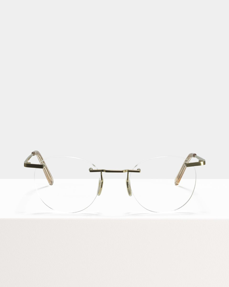 Vince Titanium round titanium glasses in Satin Gold by Ace & Tate