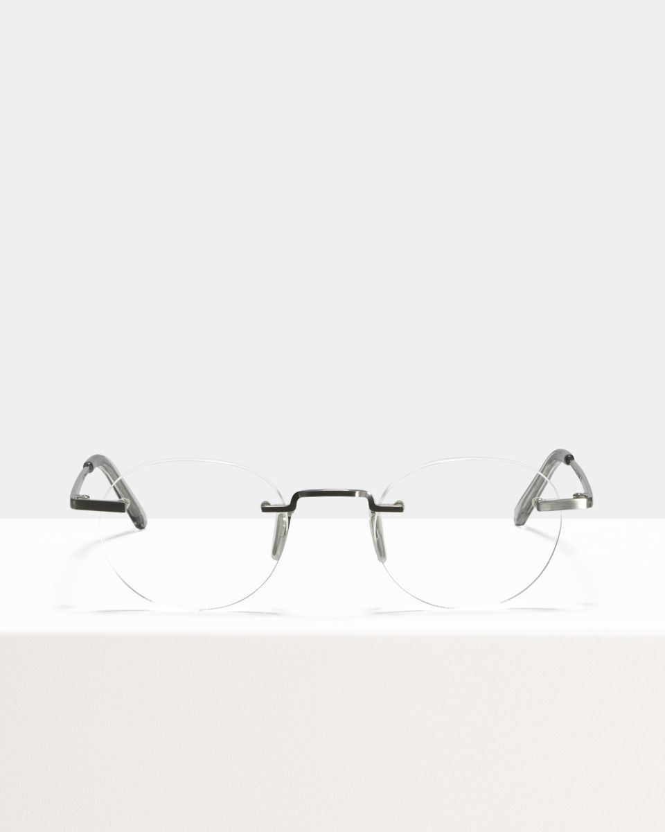 Elliot Titanium oval titanium glasses in Satin Silver by Ace & Tate