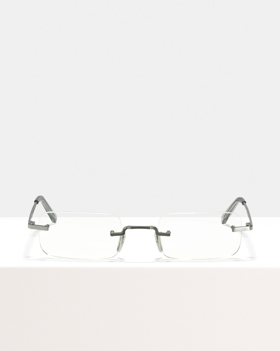 Justin Titanium rectangle titanium glasses in Satin Silver by Ace & Tate