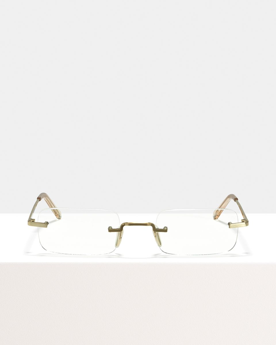 Justin Titanium rectangle titanium glasses in Satin Gold by Ace & Tate