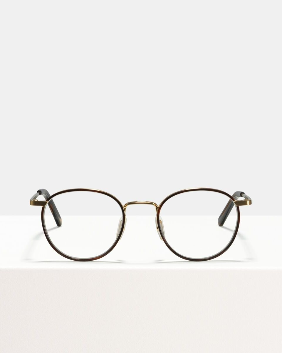 Neil Small metaal glasses in Windsor Rim Tigerwood by Ace & Tate