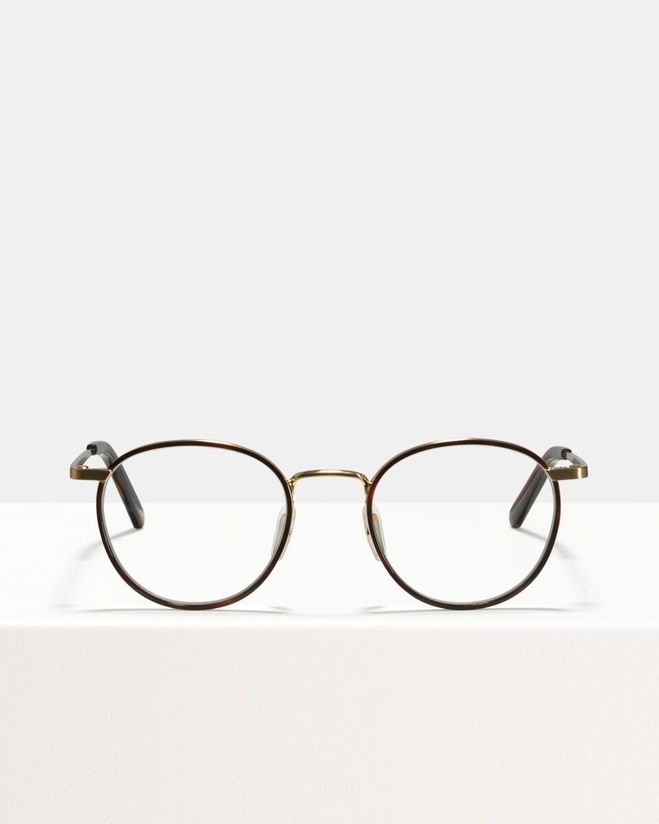 Neil Small metal glasses in Windsor Rim Tigerwood by Ace & Tate