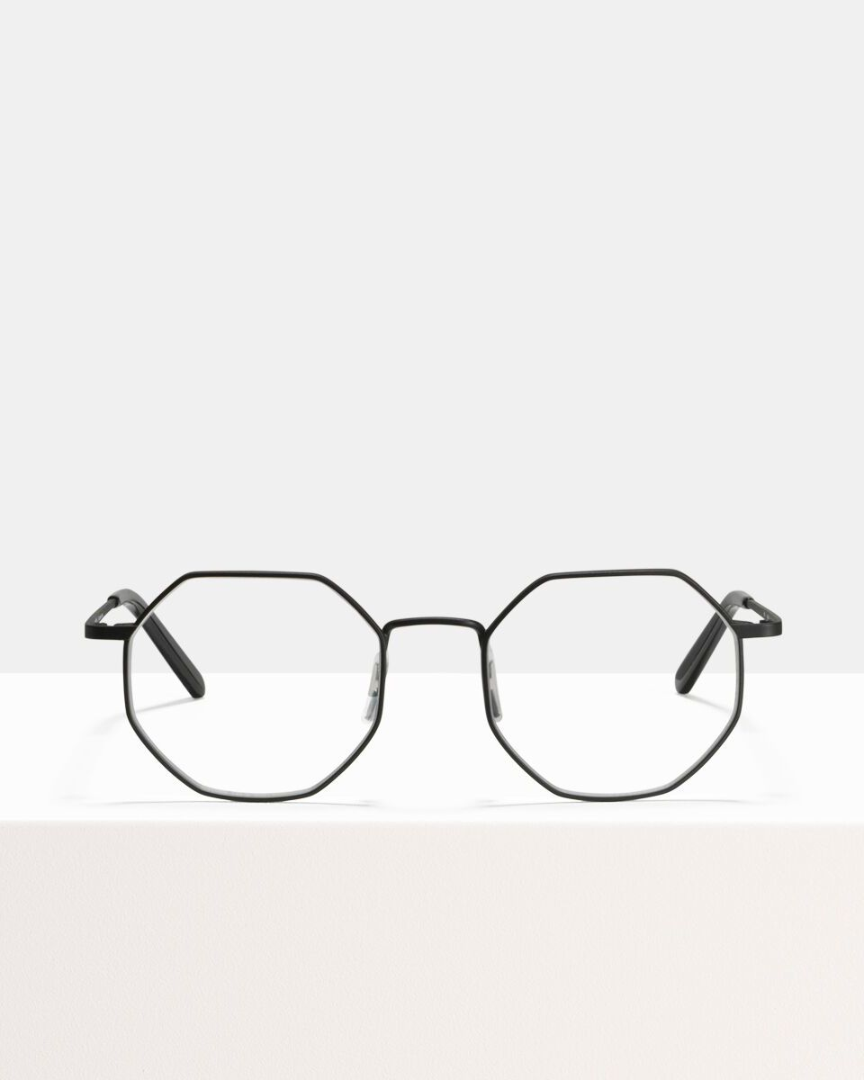 Elton Large metal glasses in Matte Black by Ace & Tate