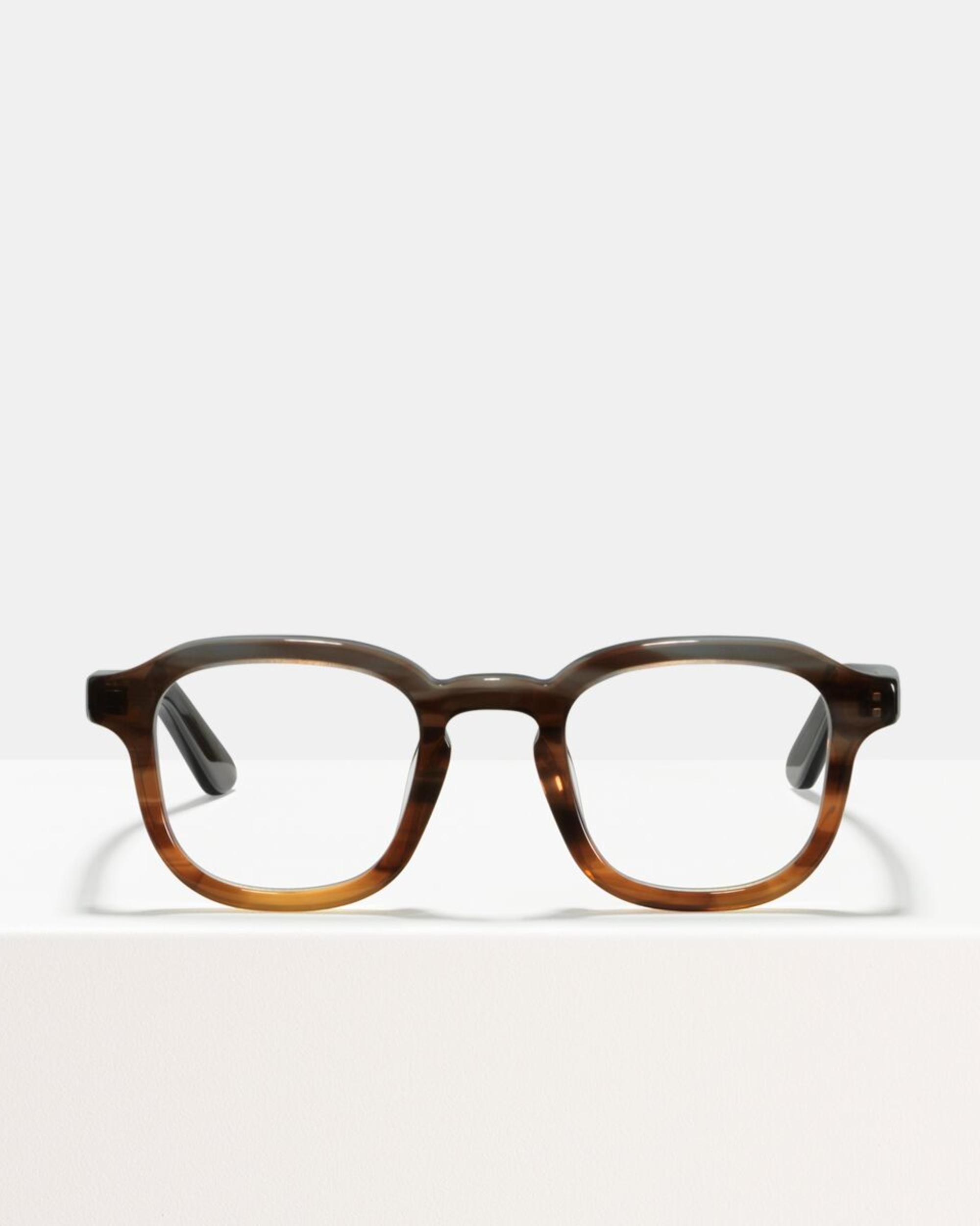 Ace & Tate Glasses | vierkant acetaat in Grijs, Bruin, Oranje