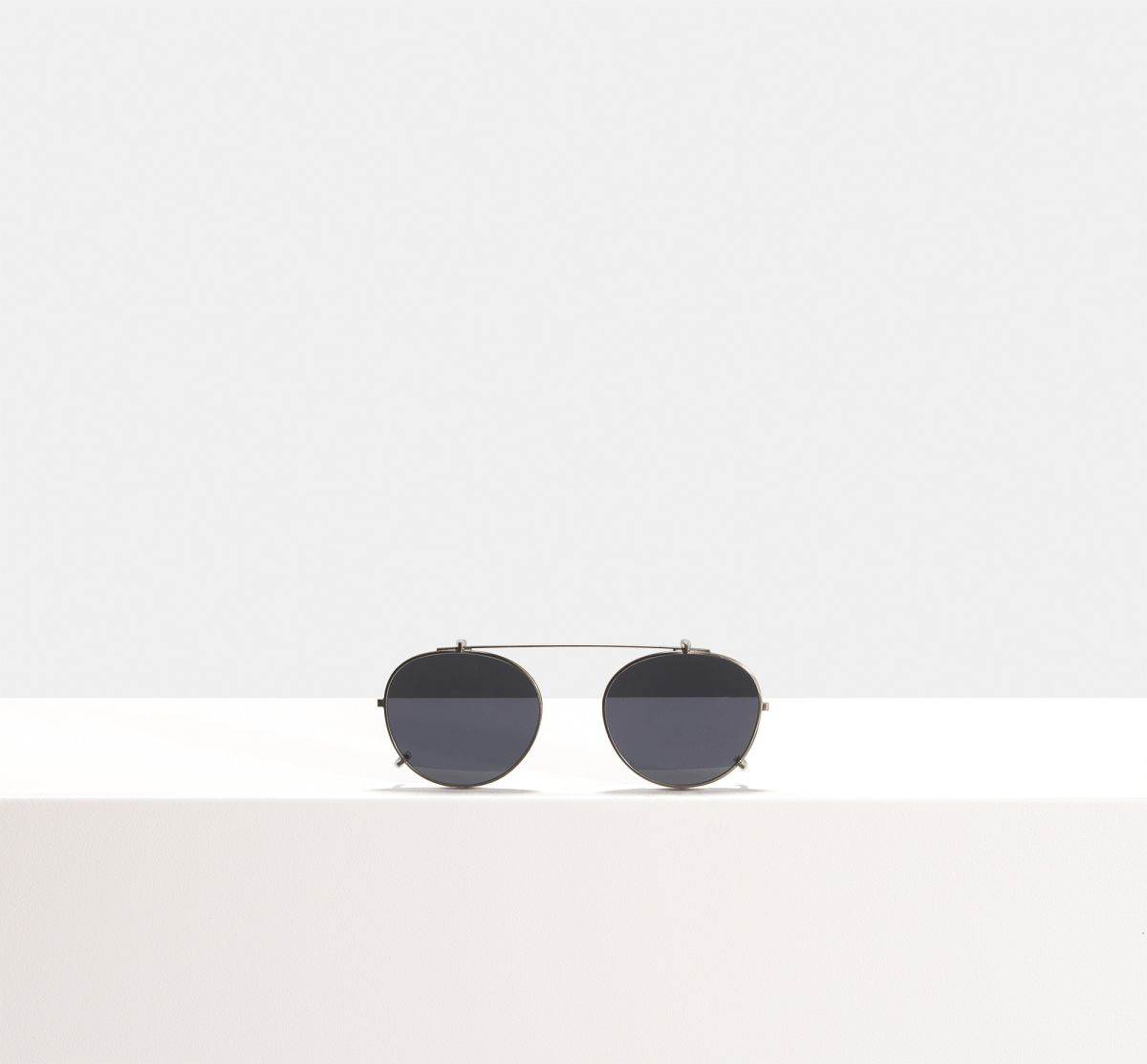 Easton clip-on round metal glasses in Gunmetal by Ace & Tate