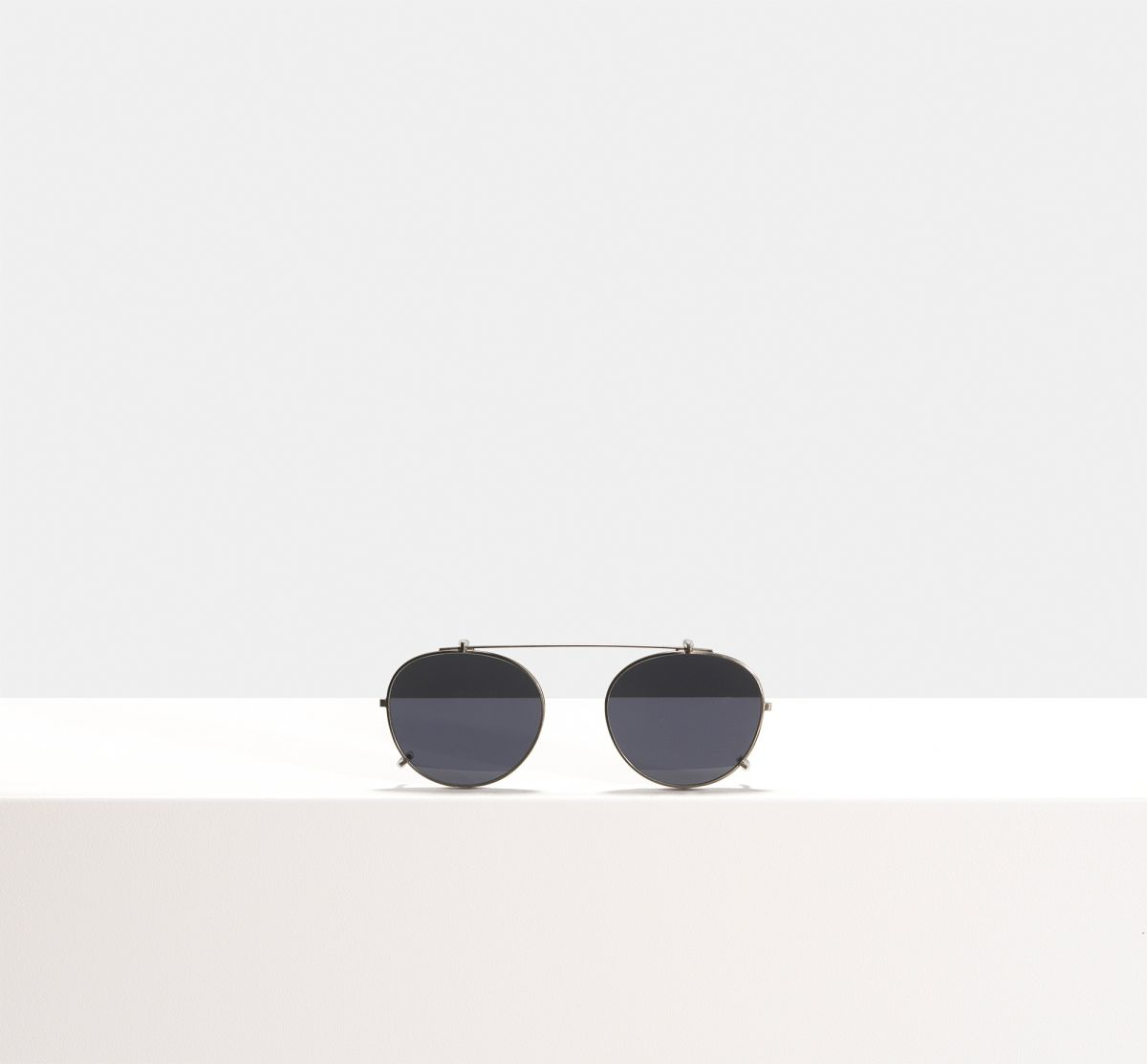 Max clip-on round metal glasses in Gunmetal by Ace & Tate
