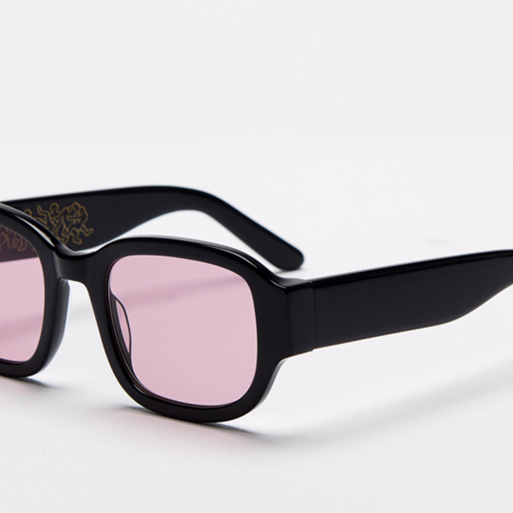 Ace & Tate Sunglasses | rectangle acetate in Black, Pink