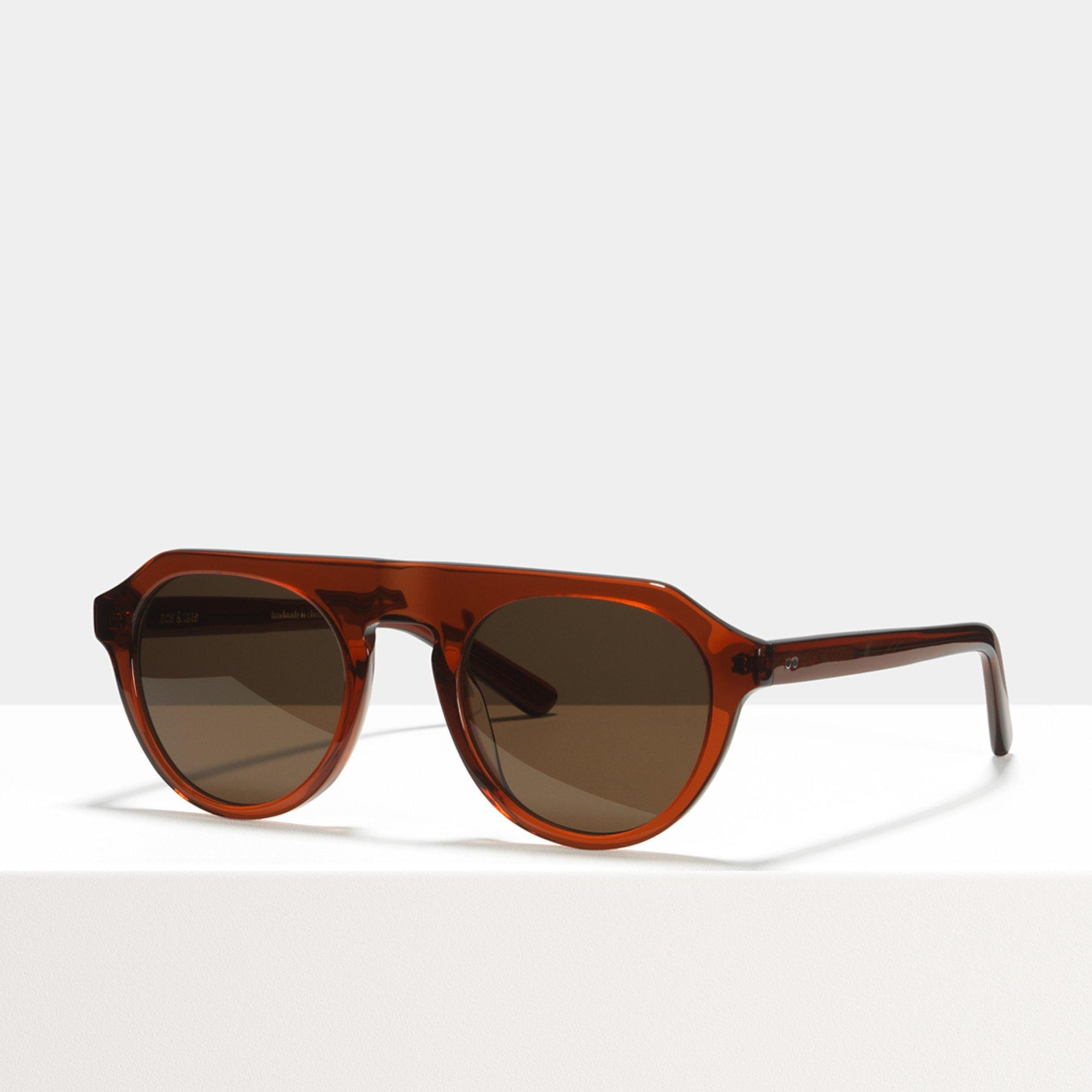 Ace & Tate Sunglasses   rund Acetat in Braun, Rot